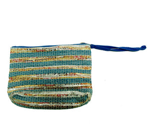 Wristlet Small Pouch - Blue and Gold