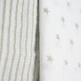 Organic Muslin Swaddle Blankets - Stars & Stripes - 2 pack