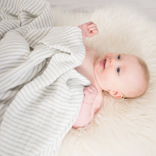 Large Organic Muslin Blanket - Little Stripes