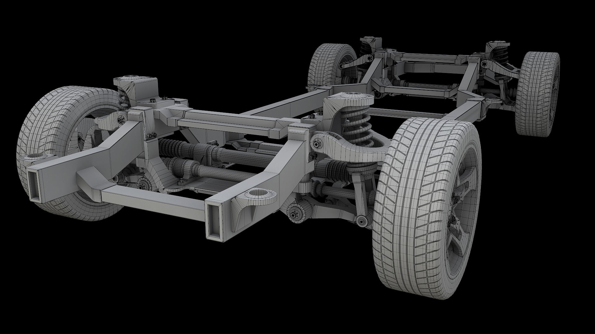 Car Chassis 3D Model Bake Wire 1