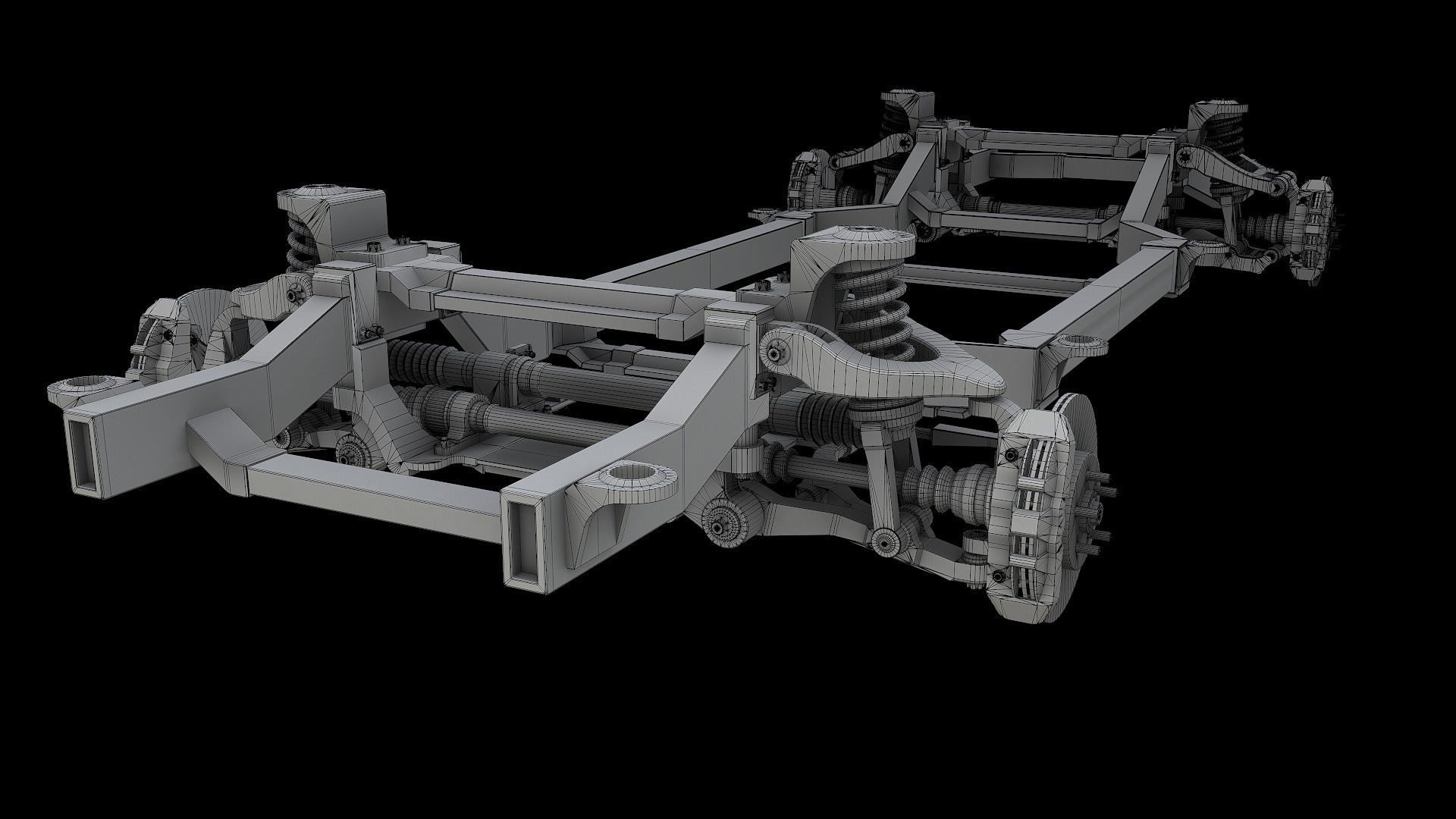 Car Chassis 3D Model Bake Wire 2