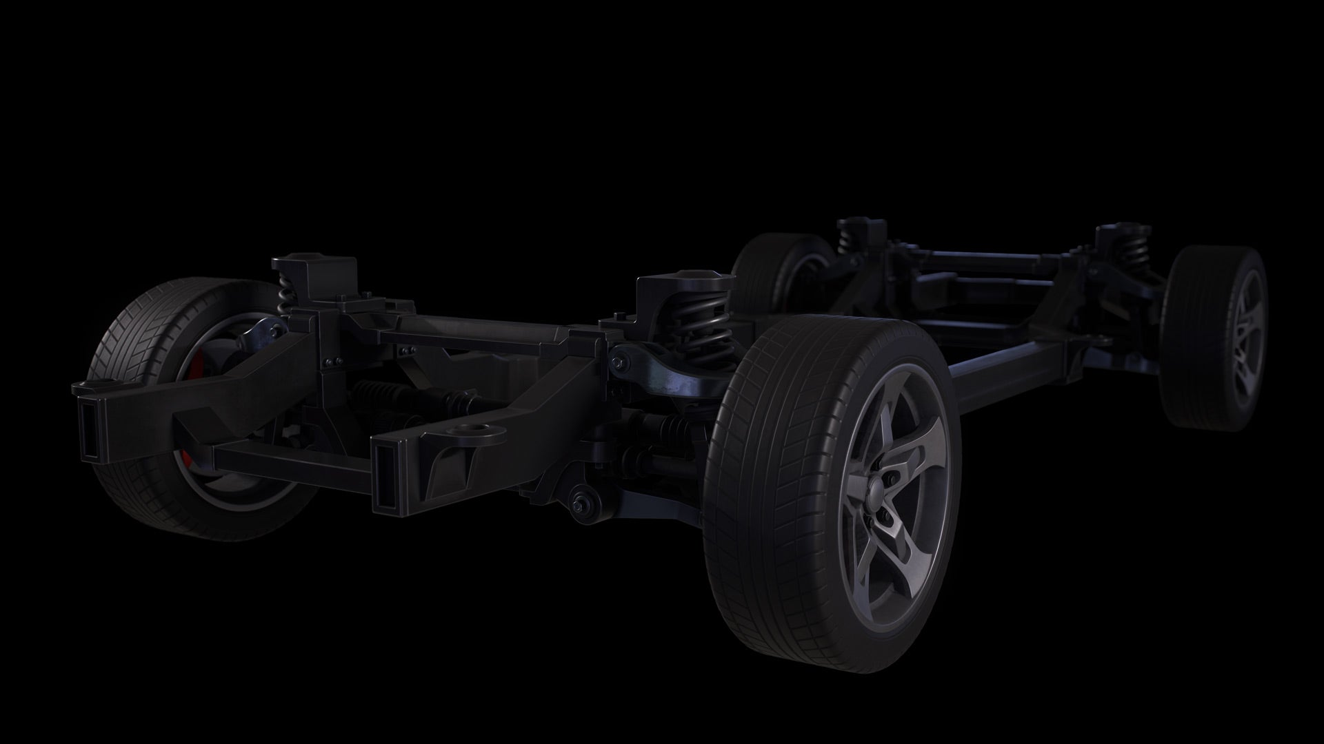Car Chassis 3D Model Textured 1
