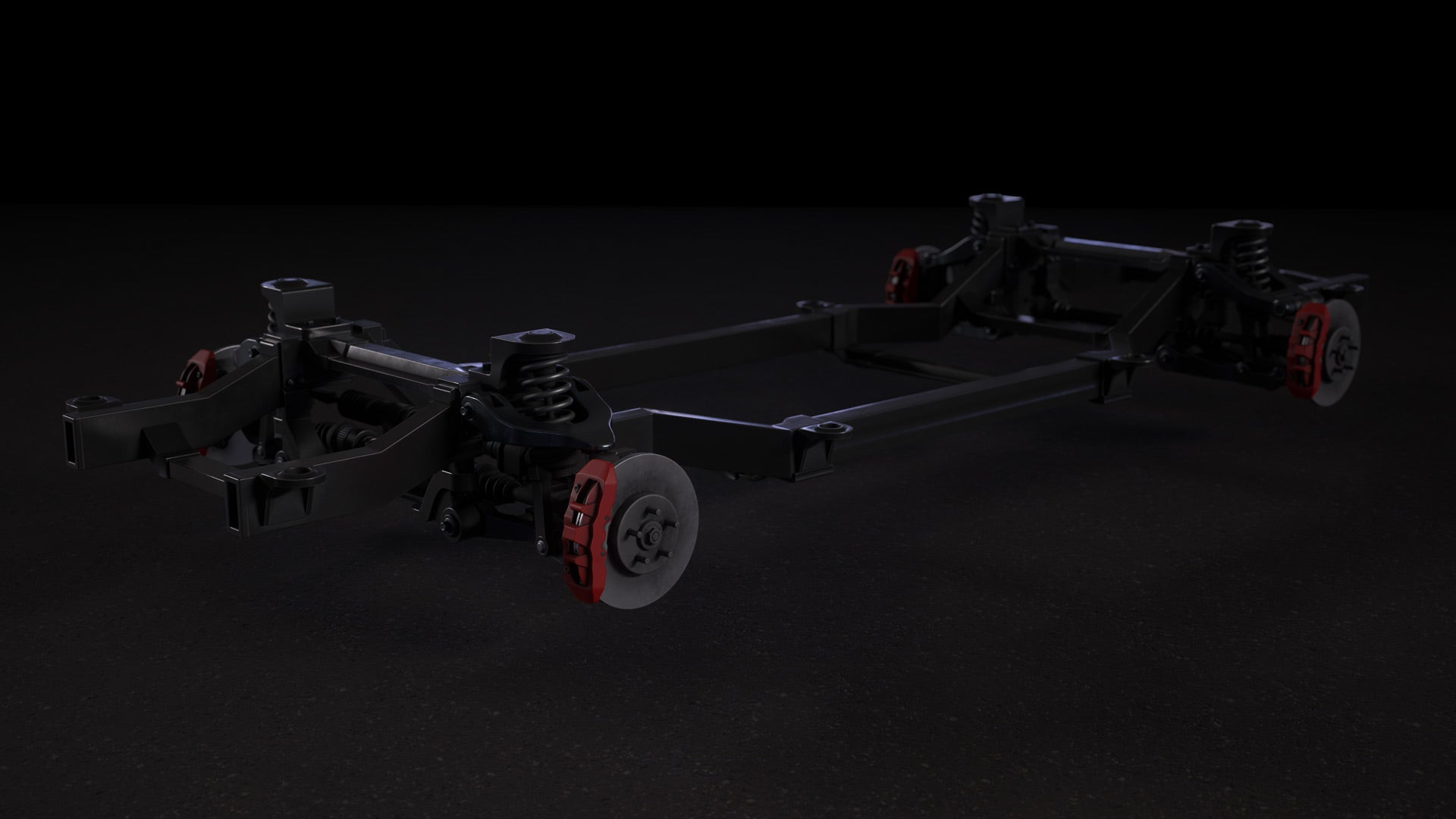 Car Chassis 3D Model Textured 3