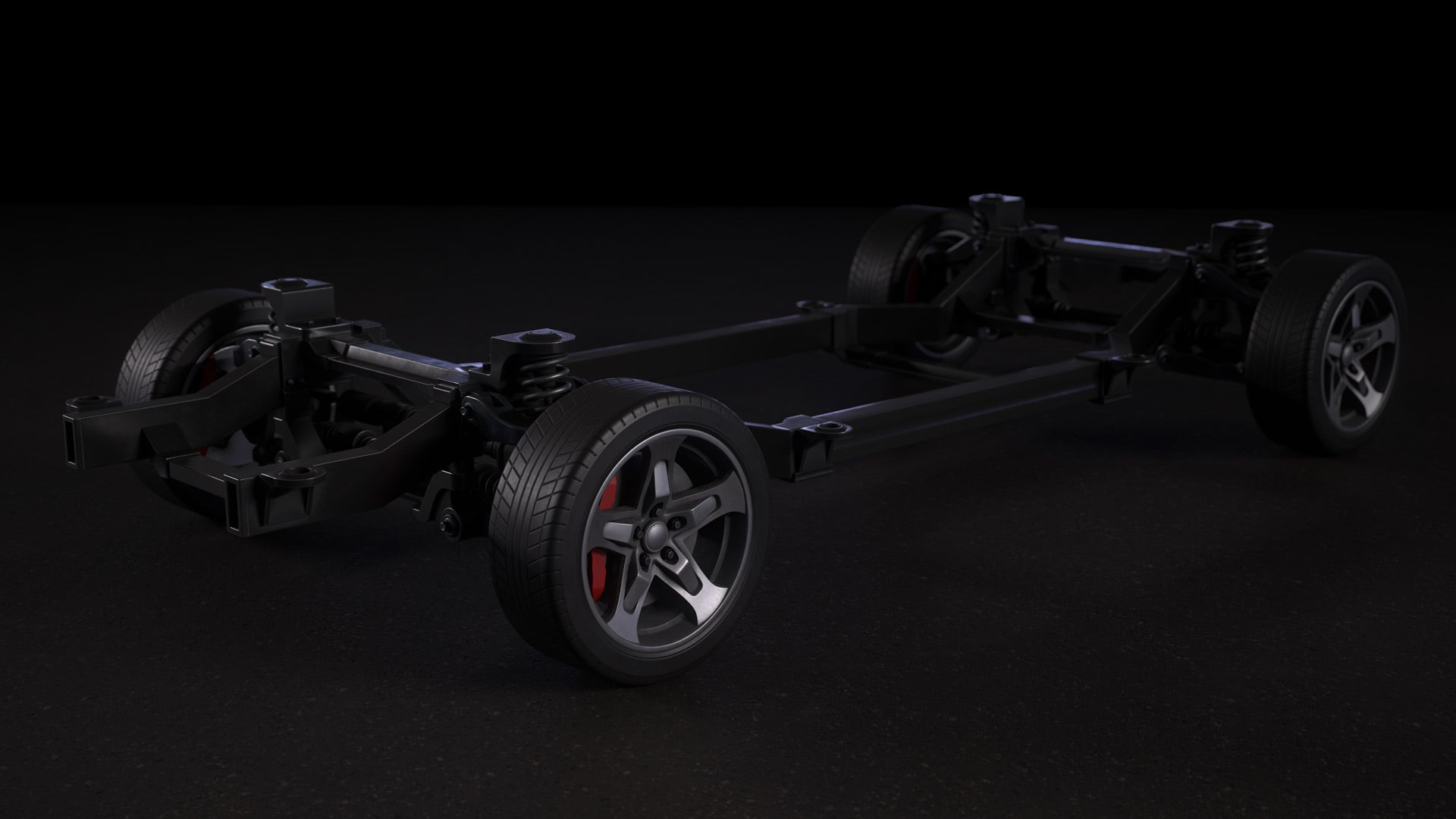 Car Chassis 3D Model Textured 4