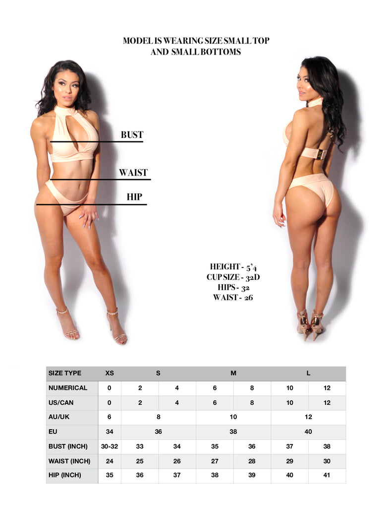 VANITY COUTURE SIZE CHART