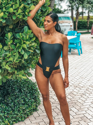 Sexy black strapless one piece swimsuit with luxury buckle