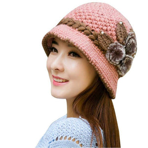 Women Wool Crochet Knitted Flowers Hat - Beauty Trend Insider