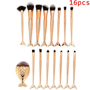 16PCS Gold Make Up  Brushes - Beauty Trend Insider
