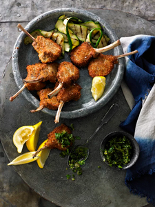 PARMESAN CRUMBED LAMB CUTLETS WITH SALSA VERDE