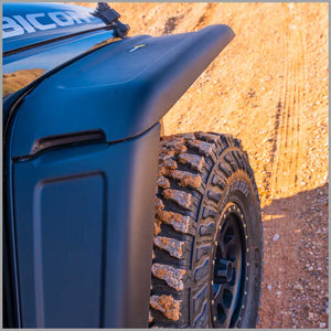 Trail Mods front wide fender flare on jeep rubicon