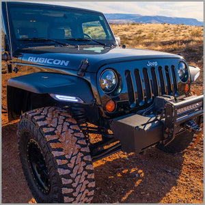 Trailmod wide fender flares with front lights on black rubicon