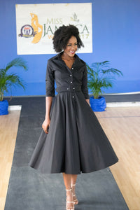 Button Up Twirl Dress Black