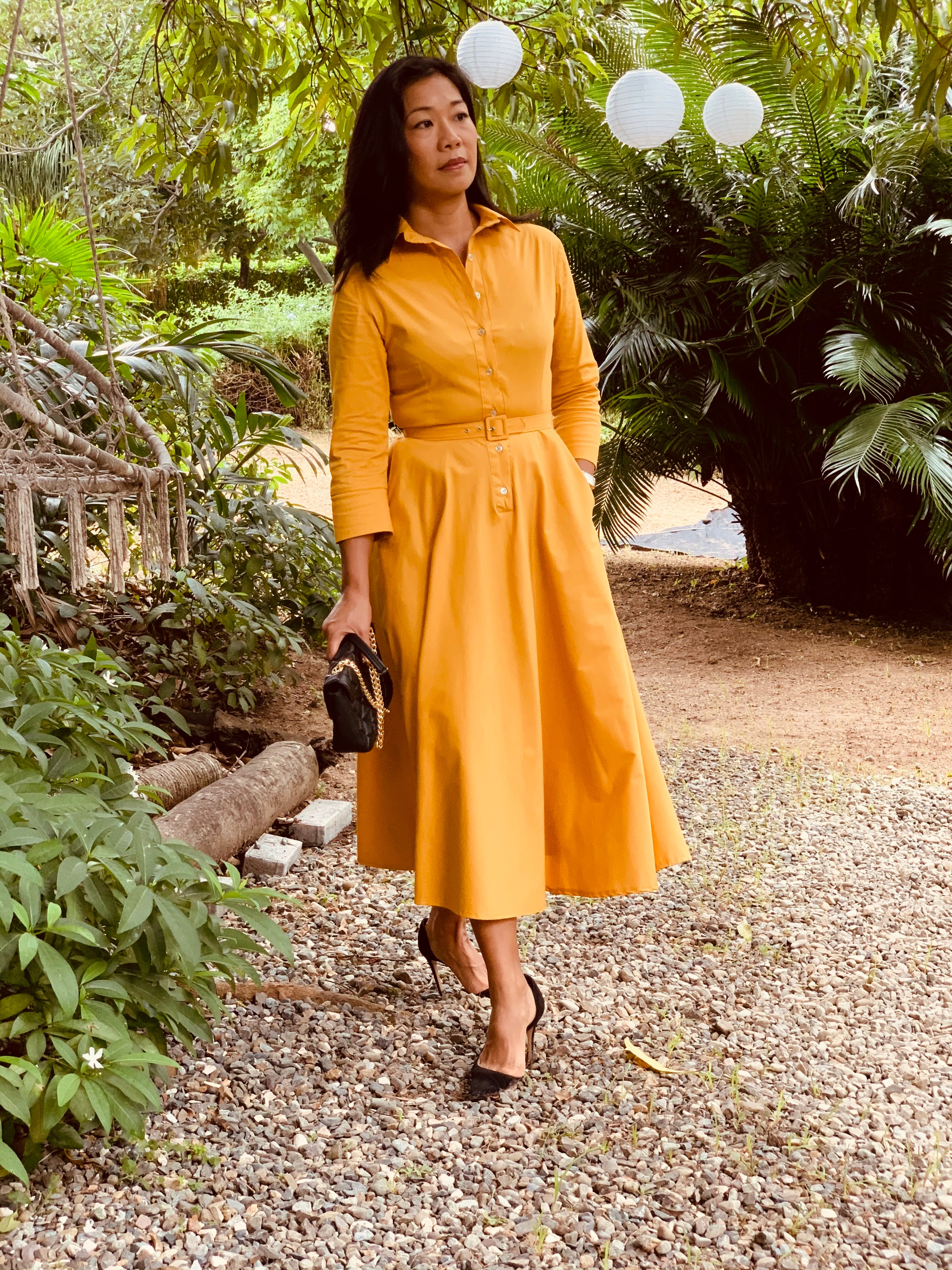 Button Up Twirl Dress Mustard