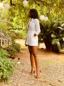Tailored Linen Playsuit/Jumpsuit 3/4 Sleeves White