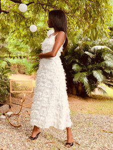 Feathered Dress White