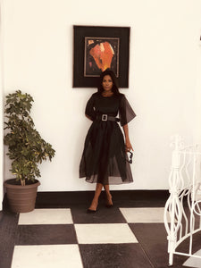 Organza Pouf Dress Black