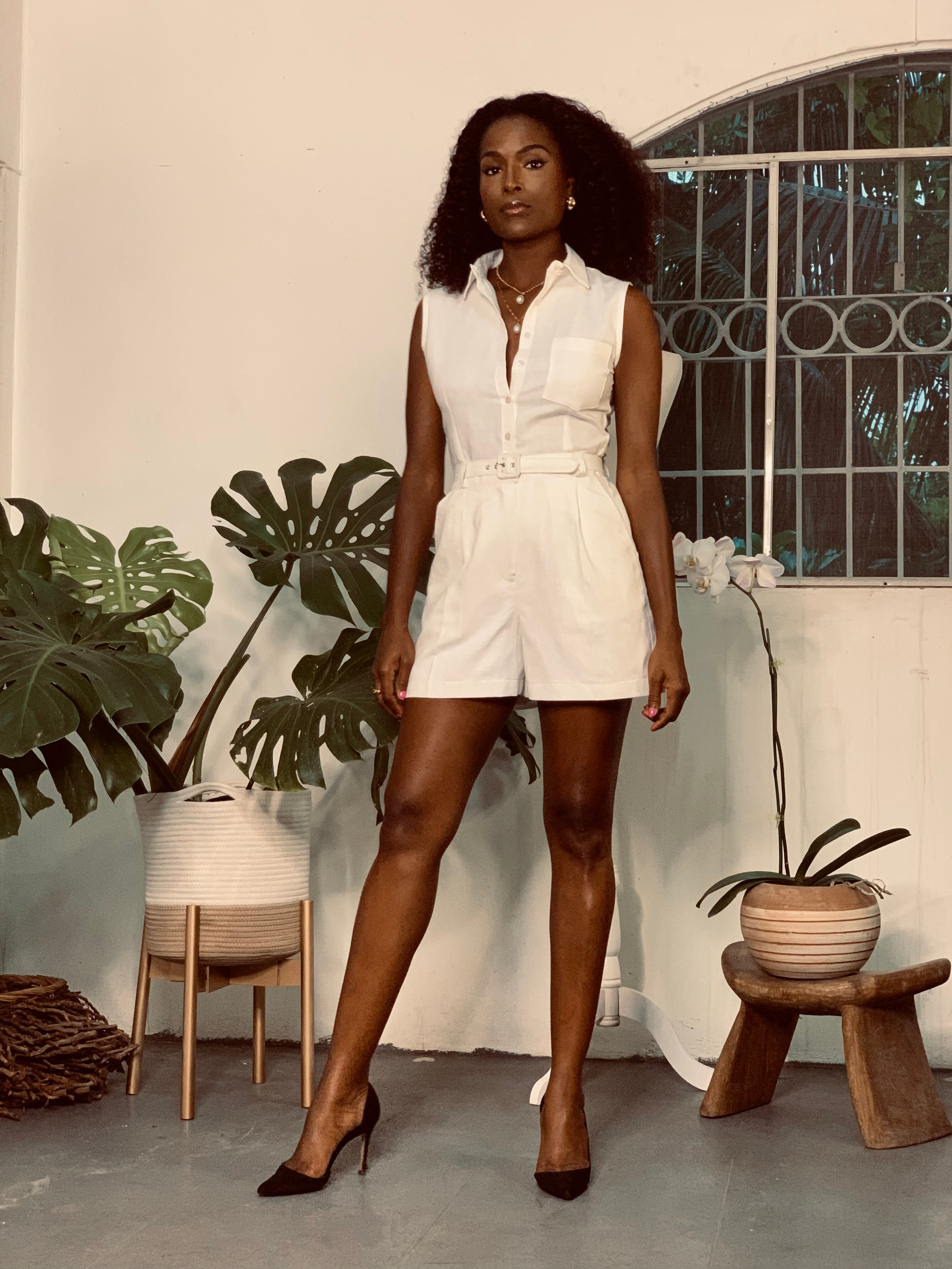 Tailored Linen Playsuit / Romper White