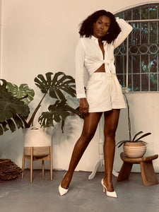Essential Tailored White Linen Shorts