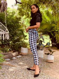 Houndstooth Print Trousers