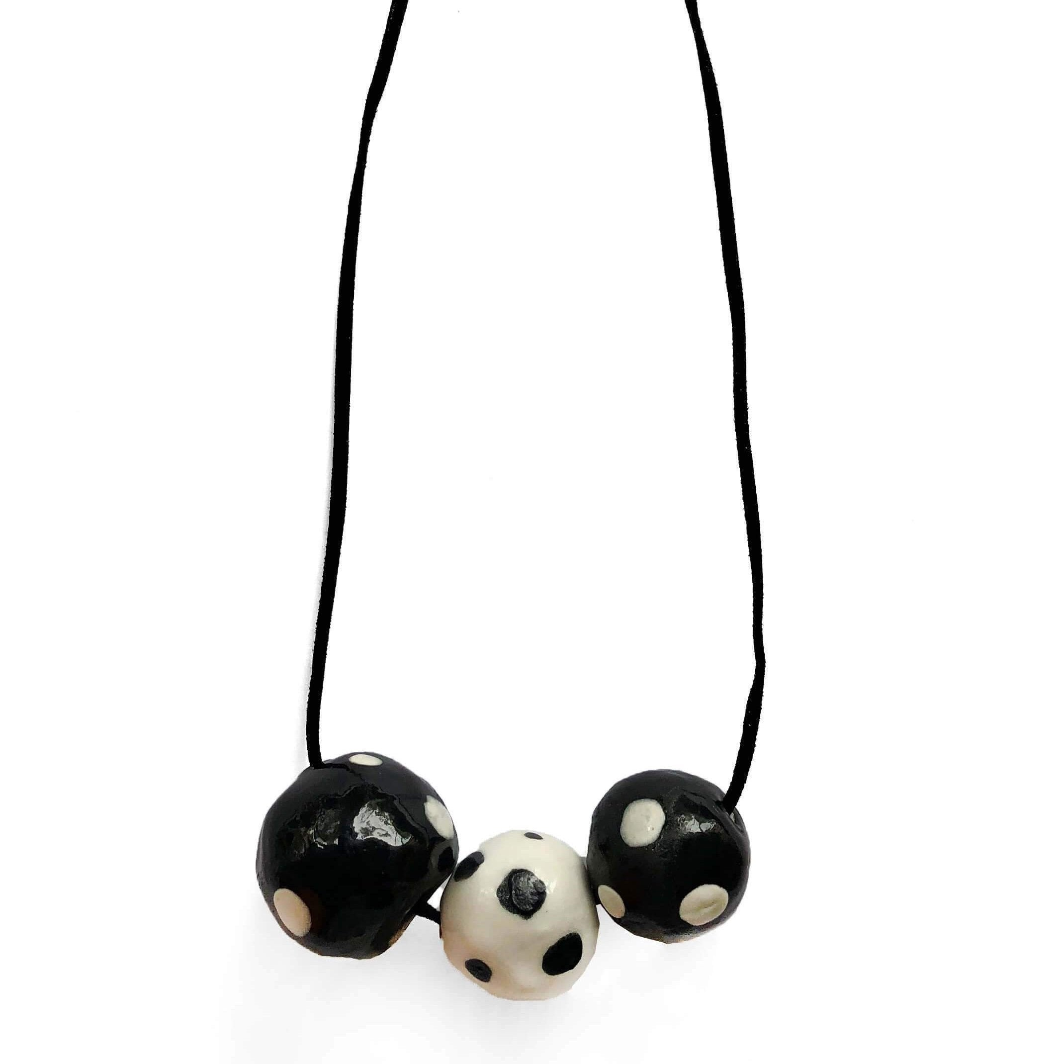 Black and white ceramic necklace with spots