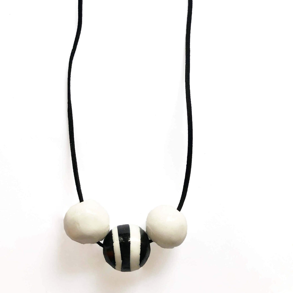 Black and white ceramic necklace with stripes