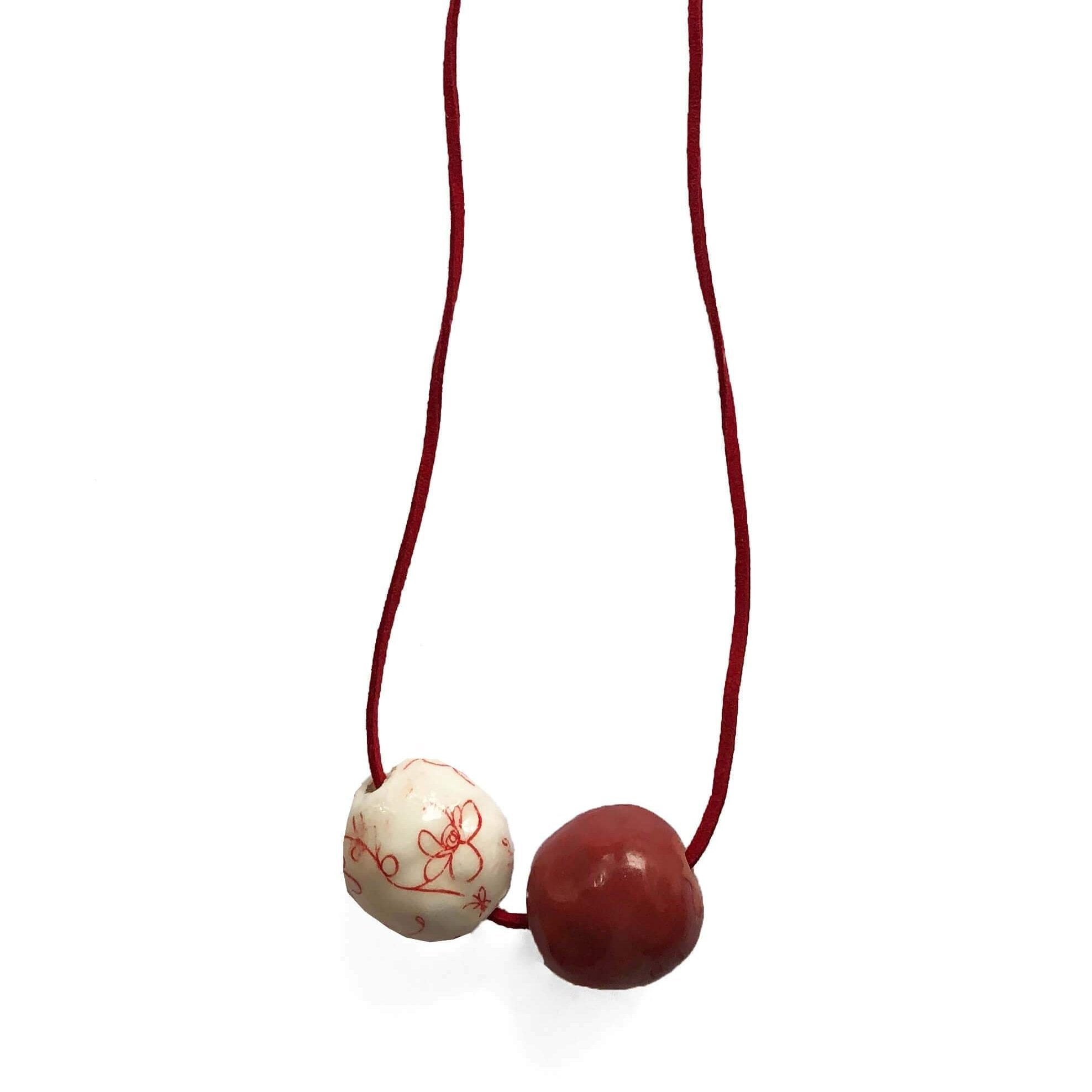 White And Red Floral Design Ceramic Necklace