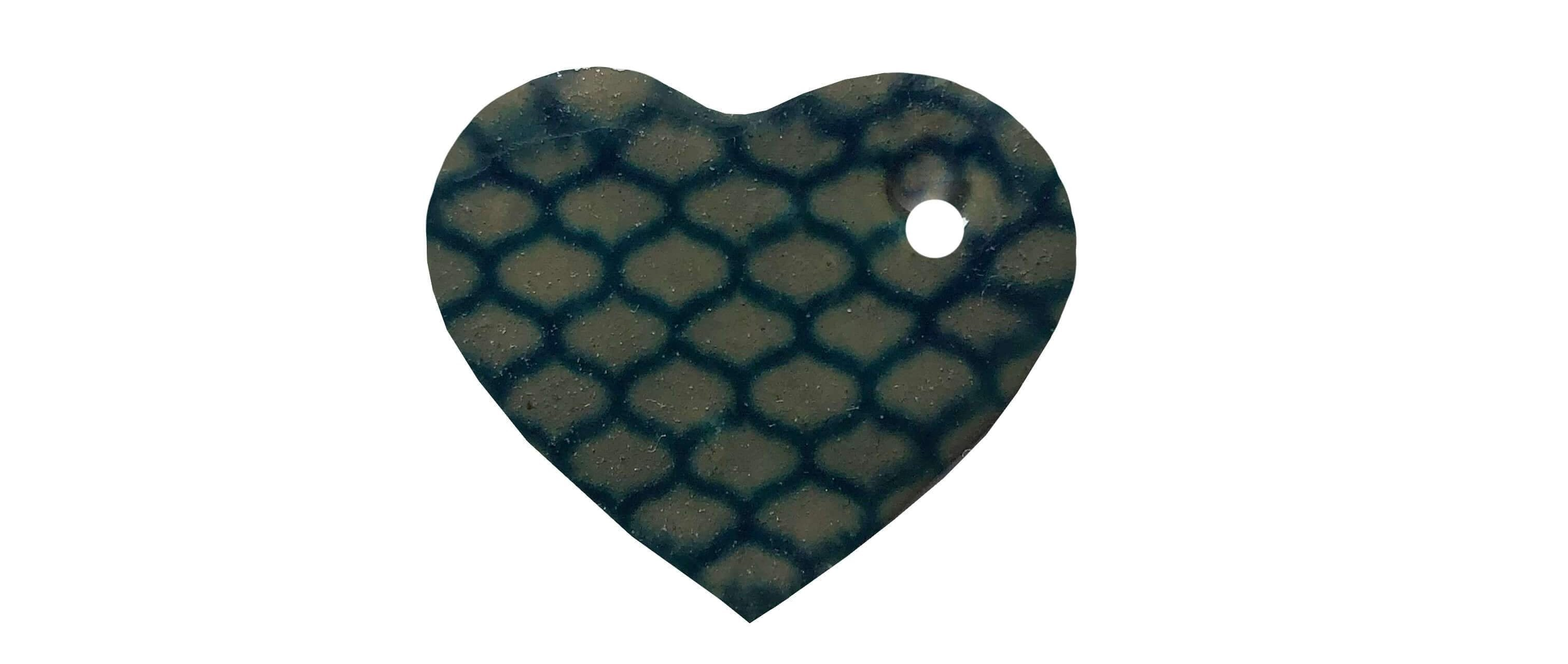 Black and green heart-shaped ceramic dog name tag
