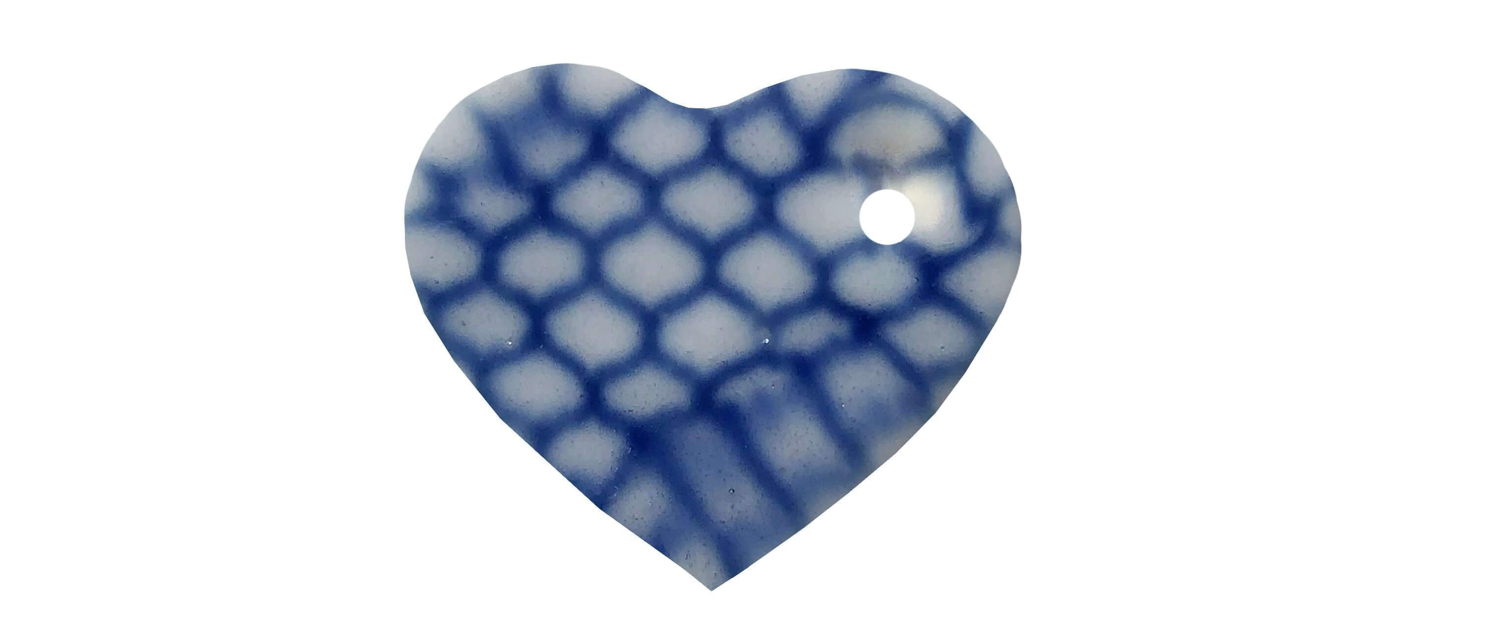 Shades of blue heart-shaped ceramic dog name tag