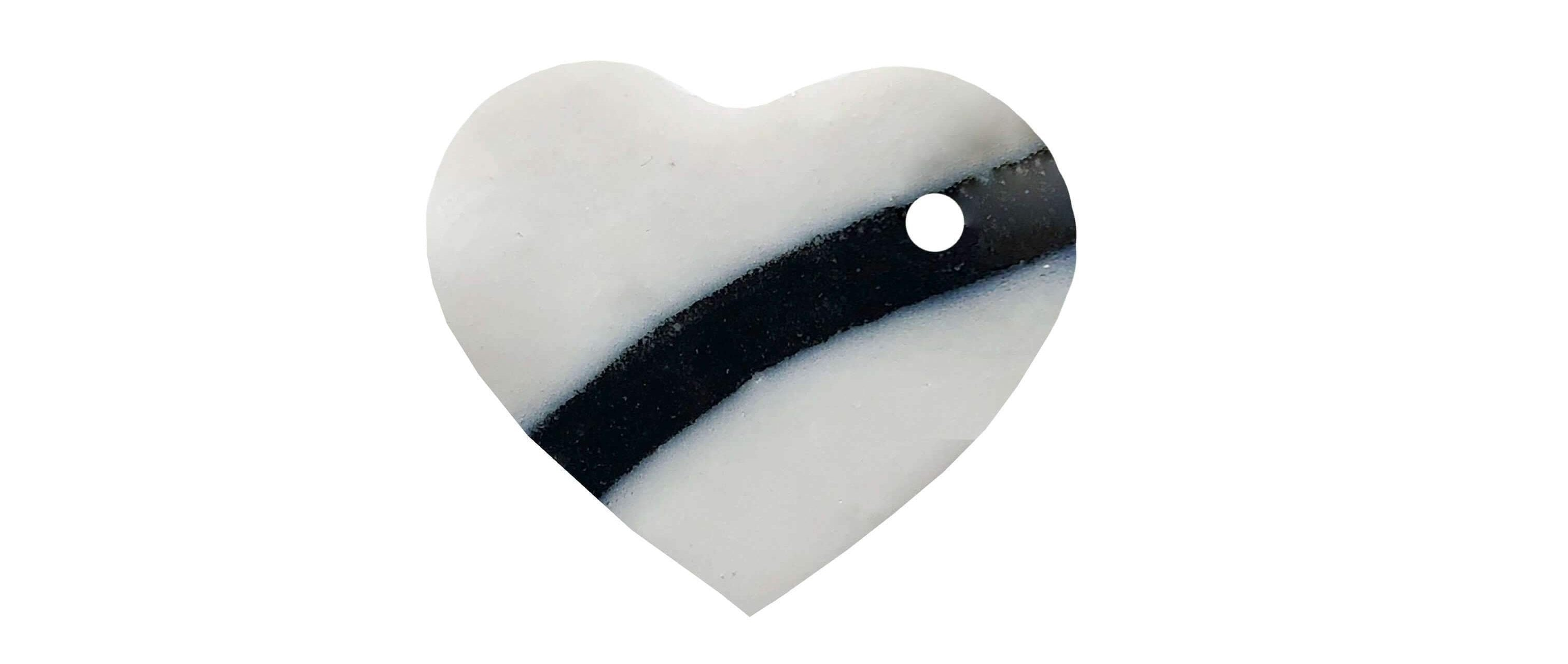White with black stripe heart-shaped ceramic dog name tag