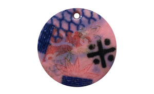 Pink colourful round ceramic dog collar tag