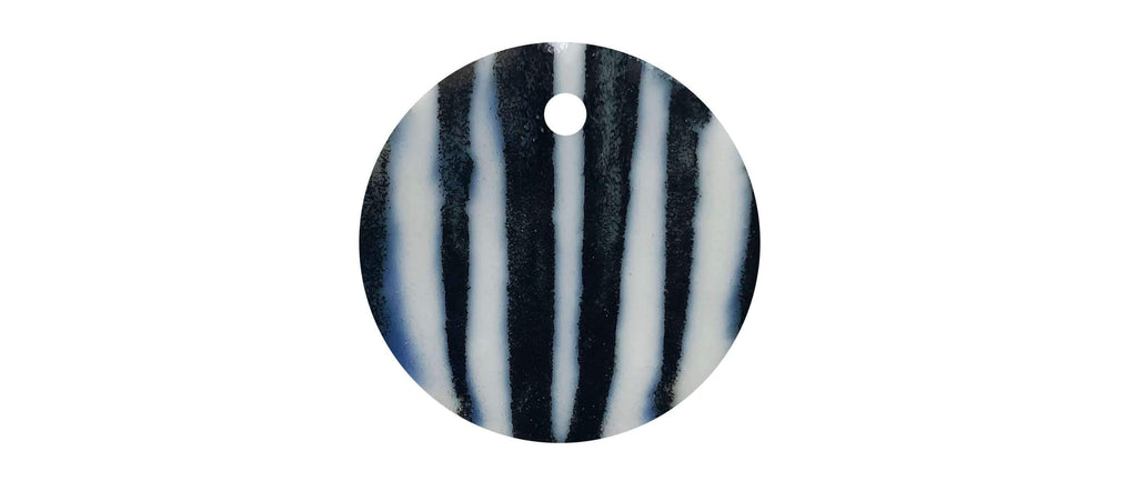 Black and white stripes round ceramic dog collar tag