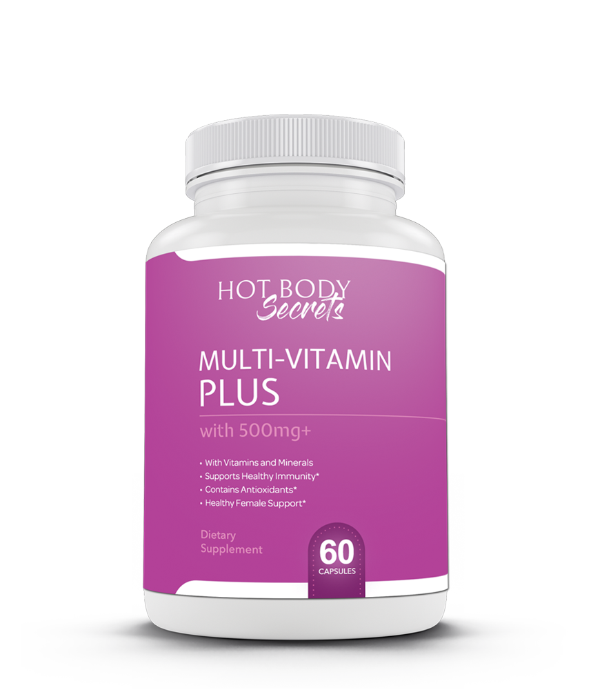 Hot Body Secret's Multi-Vitamin Plus supplement for women provides the perfect amount of vitamins, minerals, antioxidants, & herbs for the unique needs of women, making it the perfect women's multivitamin! This all-natural multivitamin has ingredients from fruits, herbs, & veggies to provide an all-natural solution. Supplements for Women | Women's Health | How to Improve your Health | Healthy Living Tips | Best Health Tips | Health Tips for Women
