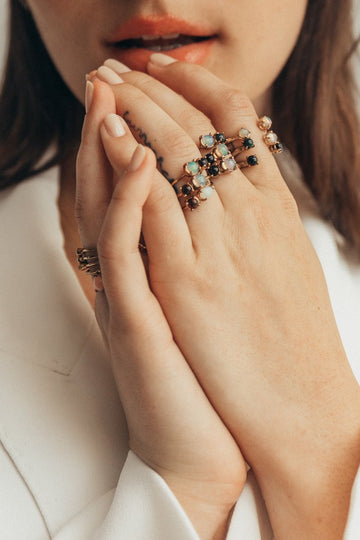 Studio Grun Circle Asymmetrical Ring, Black Onyx + Opal