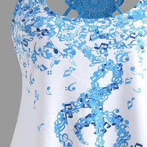 c565137d648b7 2018 Summer Sexy Ladies  Bandages Sleeveless Vest Top Musical Notes Print  Strappy Tank Tops Cami