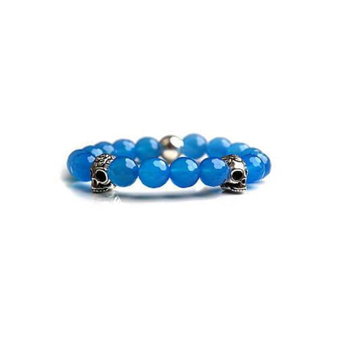 Light Blue Magnesite Skull Bracelet