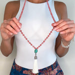 Cherry Quartz and Turquoise Mala Necklace