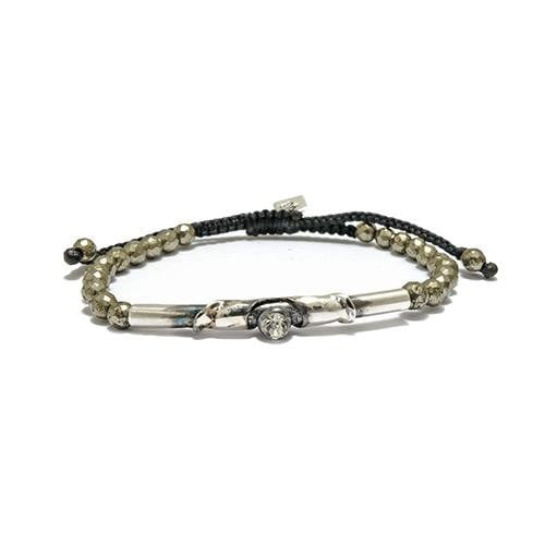Diamond Oxidize Tube on Pyrite Semi Precious Stone Bracelet - USA