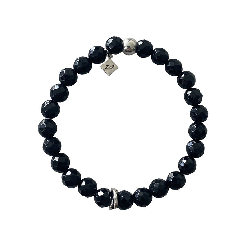 Faceted Onyx Silver Bracelet