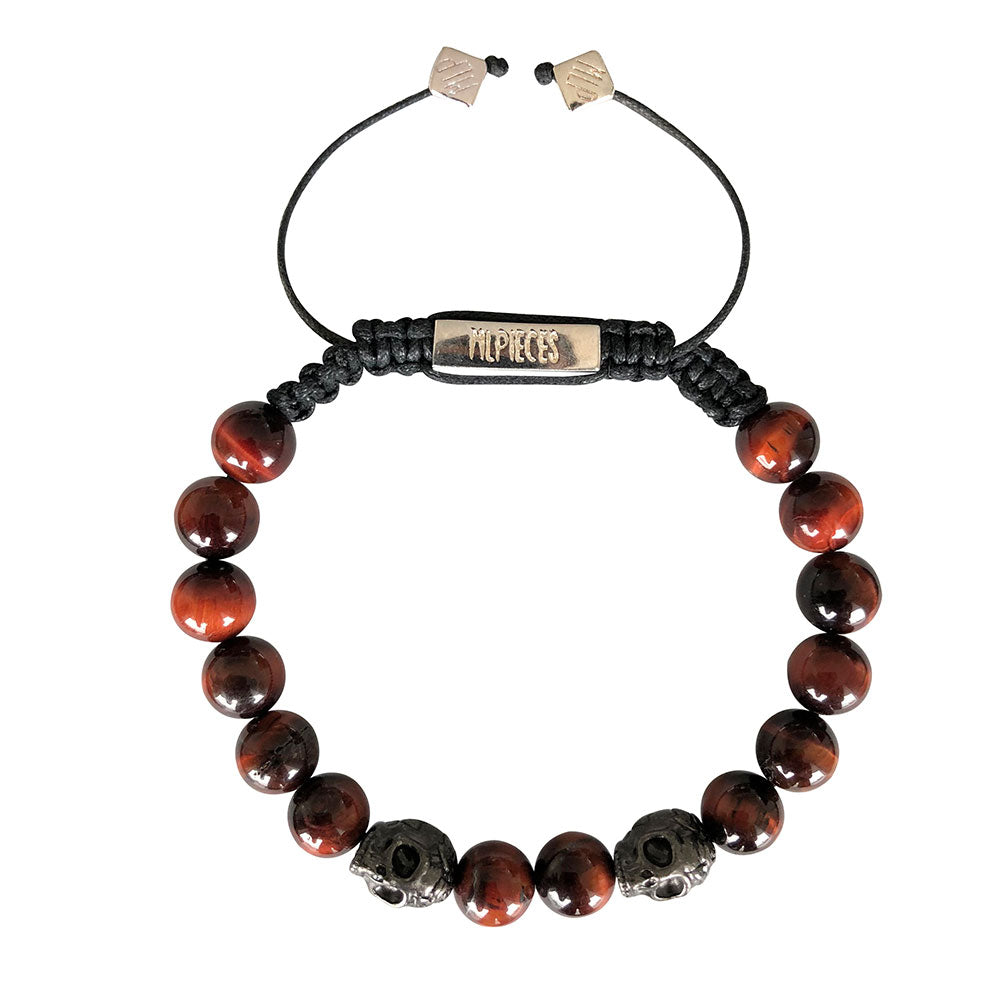 Gunmetal Skull Silver925 Red Tiger Eye Bracelet