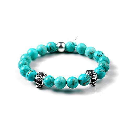 Light Blue Magnesite Skull Bracelet - USA