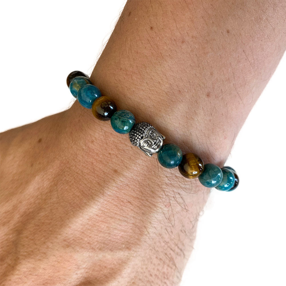 Men's Apatite Tiger Eye Silver Buddha Bracelet