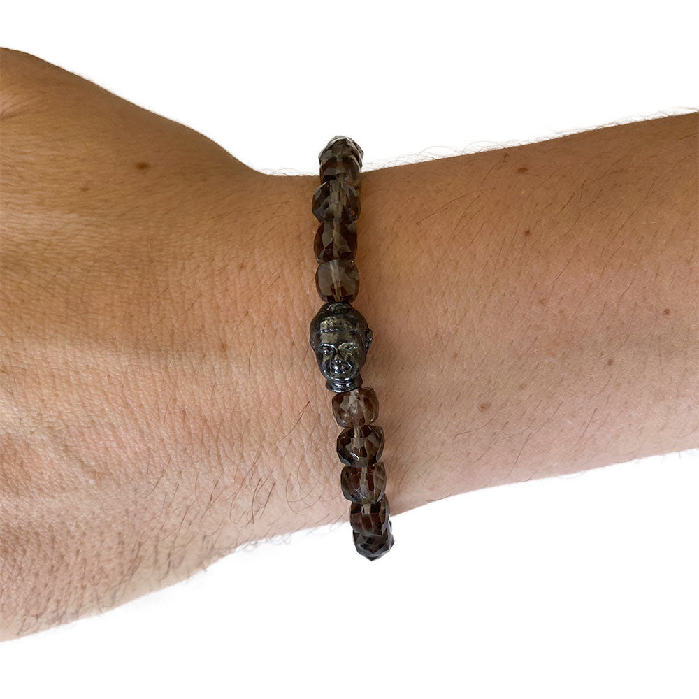 Men's Smoky Quartz Gunmetal Buddha Bracelet