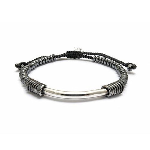Diamond Tube on Pyrite Semi Precious Stone Bracelet