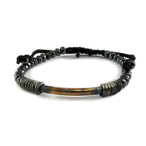 Oxidize Tube on Pyrite Semi Precious Stone Bracelet - USA