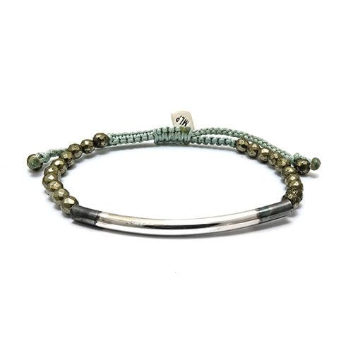 Silver Tube on Pyrite Semi Precious Stone Bracelet