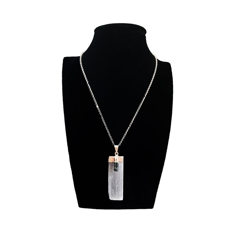 Selenite and Black Tourmaline Sterling Silver Necklace