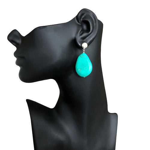 Turquoise Sterling Silver Brushed Earrings