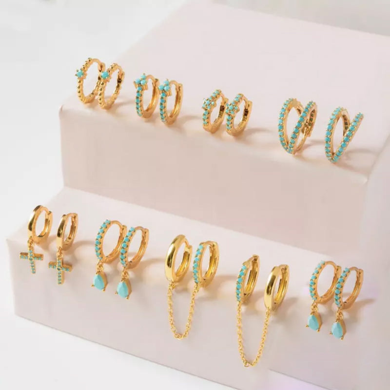 Gold Turquoise Hoops
