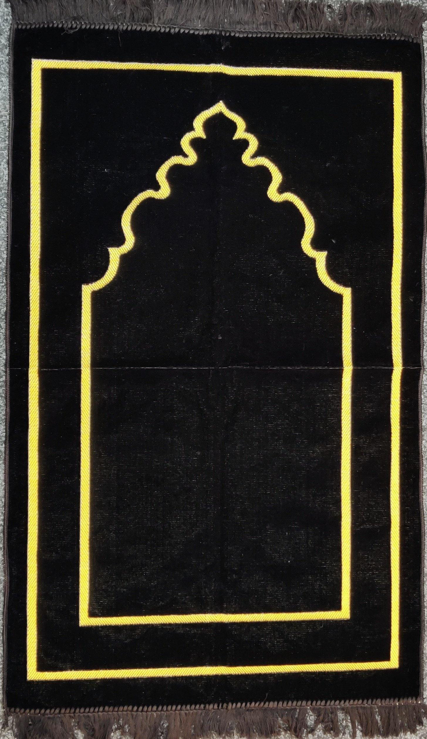 Black Plain prayer mat sajjadah jaynamaz salah prayer rug Turklish prayer mat - The Islamic Shop