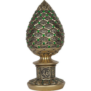 Islamic Table Decor Golden pine cone with green stones - 99 Names of Allah Alif collection - The Islamic Shop